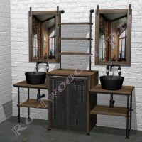 """Комплект мебели для ванной с двумя раковинами под стиральную машину """"Лофт-2"""" 200"""