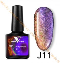"""Гель лак Venalisa """"Кошачий глаз - 9D Galaxy"""" Магнитный гель-лак #11"""
