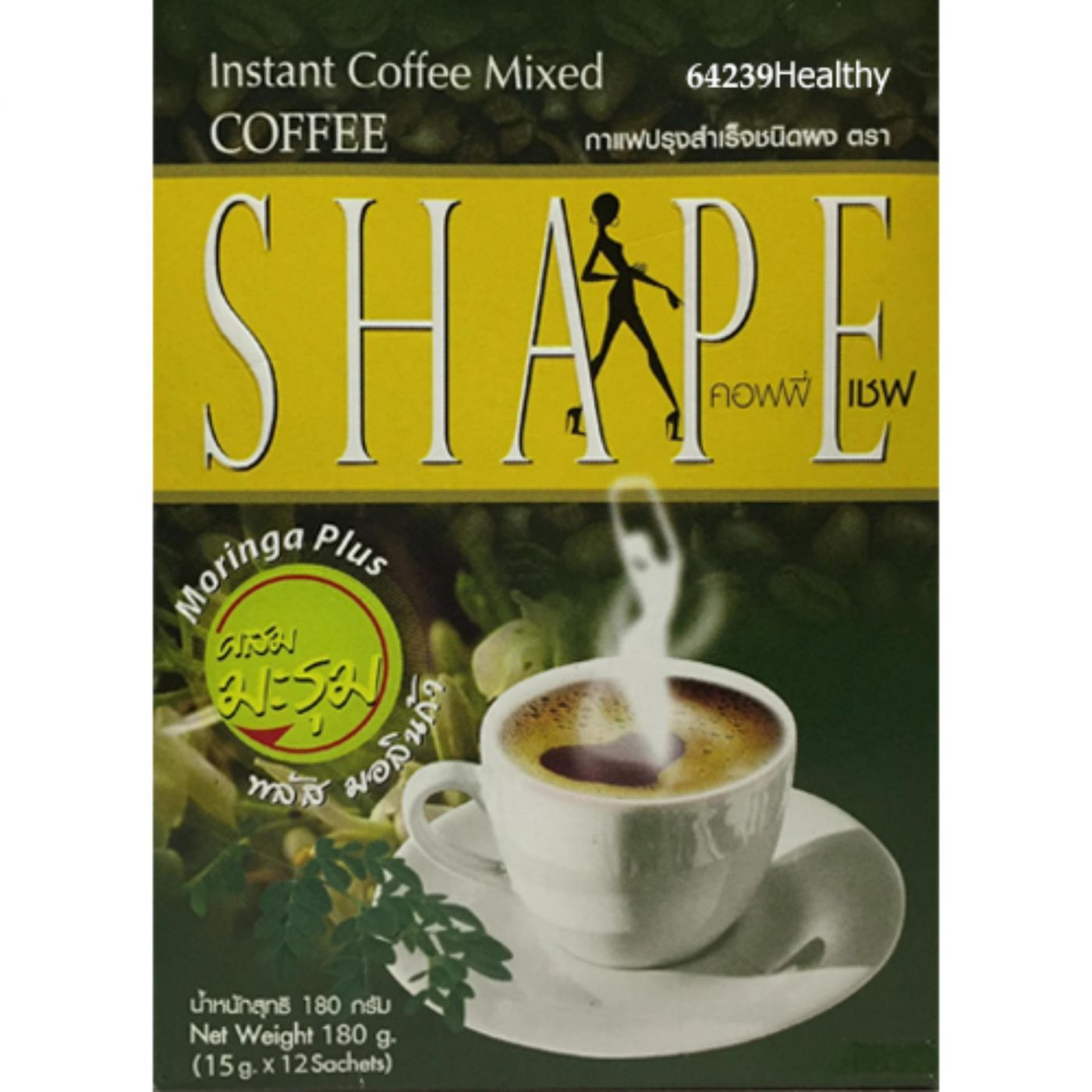 Кофе для снижения веса растворимый с морингой без сахара Shape 12 пакетиков