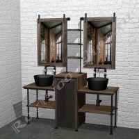 """Столешница с двумя раковинами для ванной  """"Лофт-2"""""""