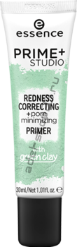 Essence - праймер-корректор покраснений prime+ studio redness correcting + pore minimizing primer
