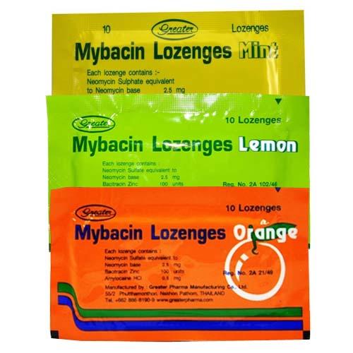 Тайские пастилки от боли в горле Mybacin Lozenges 10 шт