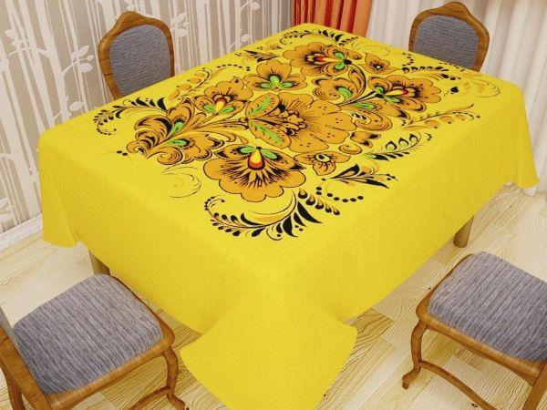 Скатерть Newtone 120 х 150 см Дизайн Хохлома на желтом арт. 8