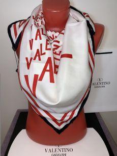 Шелковый платок Valentino, белый , арт. 026
