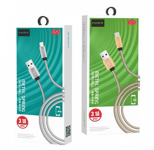 Кабель USB 3.1А MAIMi X25 (microUSB,металл) 1м