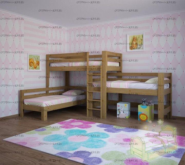 Кровать трехъярусная №22IR Массив