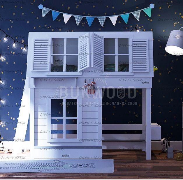 Кровать-чердак Домик Village №10, любые размера