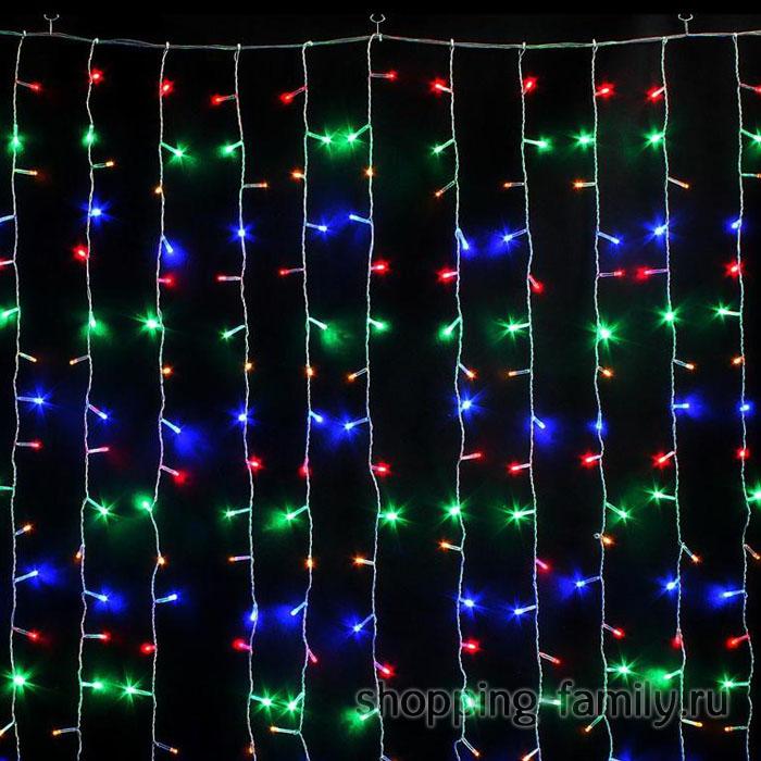 Светодиодная гирлянда Шторка 200 LED, 1,8*1,8 м. Цвет Разноцветный