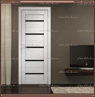 Межкомнатная дверь DUPLEX  Дуб белый, стекло - ЛАКОБЕЛЬ Чёрное :