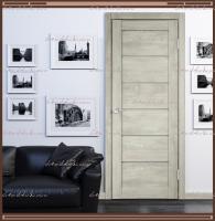 Межкомнатная дверь LINEA 1  Дуб Шале Седой, стекло - Мателюкс :