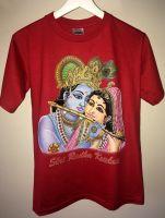 Красная индийская футболка с изображением Кришны и Радхи, купить в интернет магазине, Москва