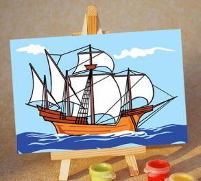 Раскраска по номерам «Кораблик» 10x15 см
