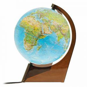 Глобус Земли физико-политический рельефный, диаметр 210 мм, с подсветкой, треугольная подставка