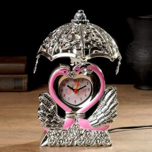 """Часы будильник """"Лебедь"""" с светильником, 13х13х23 см , микс 3620782"""