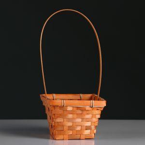 Корзина плетёная, бамбук, квадратная, оранжевая