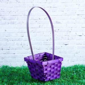 Корзина плетёная, бамбук, квадратная, фиолетовая