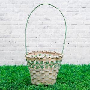 Корзина плетеная, бамбук, 14х14х11/30 см, зеленая 3823264