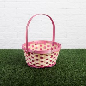 Корзина плетеная, бамбук, 21х21х10/24 см, розовая 2054241