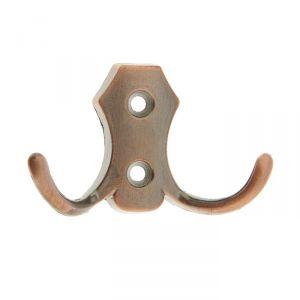 Крючок мебельный KM201AC, двухрожковый, цвет медь 1866158
