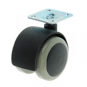 Колесо мебельное, d=50 мм, на площадке, c мягким ходом, без тормоза, серое 3556671