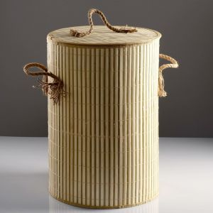 Корзина для белья, с крышкой и ручками, складная, 39?39?56 см, бамбук, джут   4427907