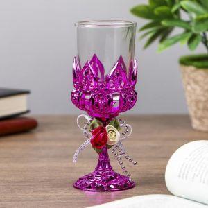 """Подсвечник пластик, стекло на 1 свечу """"Розочки"""" бокал на ножке фиолет 13х6х6 см   4287727"""