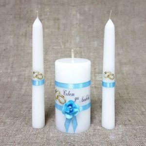 """Набор свечей """"Совет да любовь с розой"""" голубой: Родительские свечи 1,8х15;Домашний очаг 5,2х9,5   24"""