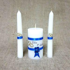 """Набор свечей """"Совет да любовь с розой"""" синий: Родительские свечи 1,8х15;Домашний очаг 5,2х9, 2425161"""