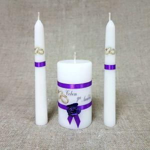 """Набор свечей """"Совет да любовь с розой"""" фиолетовый: Родительские свечи 1,8х15;Домашний очаг 5 2425162"""