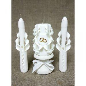 """Набор свечей резных """"Свадебный"""", белый: Домашний очаг, Родительские свечи, подсвечник 2364484"""