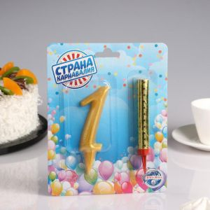Набор Свеча для торта цифра 1 Гигант, золотая, с фонтаном 4929078