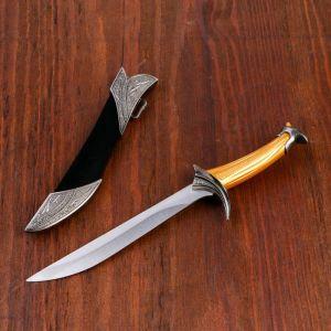 Сувенирный нож, 26 см ножны с оковками, рукоять под дерево, гарда галочкой 1623468