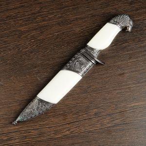 Сувенирный нож, белые вставки, рукоять в форме головы орла, 21 см 258161