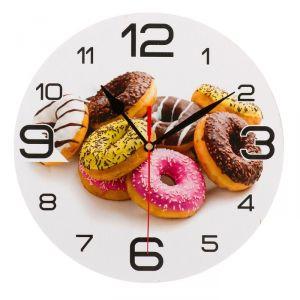 """Часы настенные круглые """"Пончики"""", 24 см 3571467"""