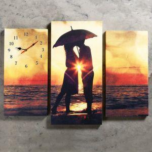 Часы настенные модульные «Влюблённая пара на берегу», 60 ? 80 см