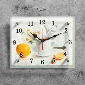 """Часы настенные, серия: Кухня, """"Чайная церемония и лимон"""", 20х25  см, микс 1639440"""