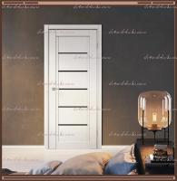 Межкомнатная дверь NEXT 1 Эмалит белый, стекло - ЛАКОБЕЛЬ Чёрное :