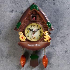 """Часы настенные с кукушкой, серия: Детские, """"Мишки в домике"""", 33х19 см пластик 487361"""