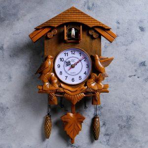 Часы настенные, серия: Маятник, с кукушками, коричневые, 30х34 см 1586147