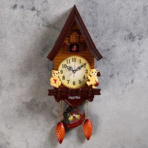 """Часы настенные, серия: Маятник, с кукушкой """"Мишки в домике"""", 15х27.3 см 760826"""
