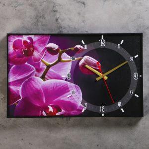 """Часы настенные, серия: Цветы, """"Розовые орхидеи"""", 37х60  см, микс 2532123"""