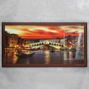"""Часы-картина настенные, серия: Город, """"Закат в Венеции"""", 50х100  см, микс 1541490"""