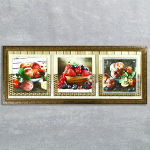 """Часы-картина настенные, серия: Кухня, """"Фруктовый восторг"""", 35х100  см, микс 1210487"""