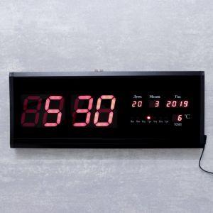 Часы настенные электронные, с термометром и календарём, красные цифры, 48х19х3 см   4128580