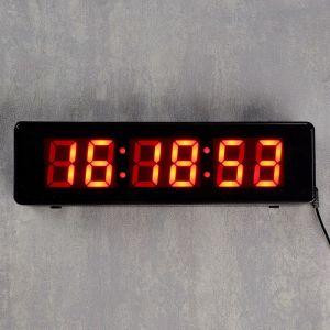 Часы настенные электронные, цифры красные 9х32 см 1716980