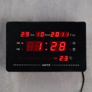 Часы настенные электронные, цифры красные, 23х15х3 см   4105023