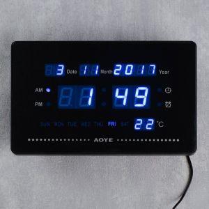Часы настенные электронные, цифры синие, 23х15х3 см   4105024