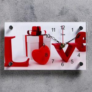 """Часы настольные, серия: Интерьер, """"Love, подарок"""", 13х23  см, микс 1178402"""