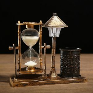 """Часы песочные """"Уличный фонарик"""" с подсветкой и карандашницей, 6.5х15.5х14.5 см, микс 3488504"""