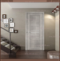 Межкомнатная дверь NEXT 2 Муар светло-серый, стекло - ЛАКОБЕЛЬ Белое :